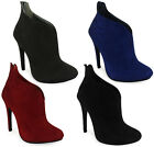 NEW WOMENS LADIES ANKLE HIGH STILETTO  HEEL SHOES ZIP UP FAUX SUEDE SIZES 3-8