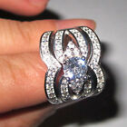 Size 6-11 Deluxe Ladys 925 Silver White Sapphire Wedding Triple 3-in-1 Ring Set