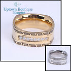 men stainless steel Silver edge micro pave clear Eternity CZ Greek key Band Ring