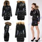 2014 Women's 90% goose Down Winter Style 100% Real fur Black long Coat Jacket