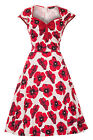 LADY VINTAGE ISABELLA DRESS Red Poppy on White Swing Rockabilly Flared SIZE 8-30