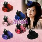 6Colors Elegant Mini Top Feather Hat Hair Clip alligator clip For Party Costume