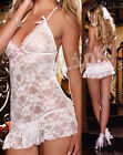Sexy Lingerie Chemises Gowns Babydoll White Bridal Bride Wedding Dress + String