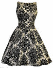 LADY VINTAGE HEPBURN Damask Delight Print TEA DRESS 1950s Retro Style SIZE 8-22