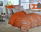 3pc Orange - Light Grey Tree Duvet Cover & Pillowcases Queen/King 100% Cotton