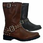 LADIES FLAT HEEL MID CALF BUCKLE STUDDED FAUX LEATHER BOOTS SHOES SIZE UK 3-8