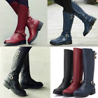 Womens Riding Boots Faux Leather Buckle Strappy Retro School Girls Boots