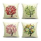 "Square Hold Cushion Cover Pillow Case Cotton linen 18""Decor Green Tree Pattern"