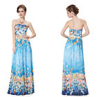 Ever Pretty Strapless Sexy Blue Formal Prom Gowns Long Summer Beach Dress 08378