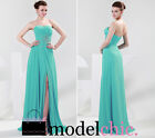 Turquoise Strapless Chiffon Prom Bridesmaid Wedding Maxi Dress Size AU8