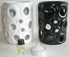 NEW LOVELY OIL BURNER SET WITH OIL AND TEA LIGHT - CIRCLE CUT OUT DESIGN 4381