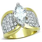 Women's 2 Tone Stainless Steel Marquise AAA CZ Engagement Ring Size 5 - 10