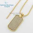"""MEN Stainless Steel Gold CZ paved Dog tag free 16"""" to 30"""" Ball chain Necklace"""
