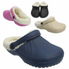 Ladies Cosy Womens Fur Lined Mules Sandals Slippers Winter Clogs Size Uk 3-8