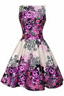 LADY VINTAGE HEPBURN Purple Rose Floral TEA DRESS 1950s Retro Style SIZE 8-22