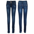 NEW Women's, Girls Dark Wash 3 Button Skinny Fit Hipster Jeans