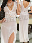 Sexy Wedding Bridal Honeymoon Lingerie Long Gown Chemise Babydoll Dress Robe Set