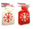 Large Hot Water Bottle 2L Litre Knitted Cover Red Cream Snowflake Winter Warm