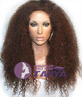 "20"" Full Front Lace Wigs 100% Brazilian Remy Human Hair Kinky Curly density 150%"