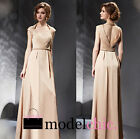 Beige Cap Sleeved Satin Evening Prom Bridesmaid Ball Wedding Gown Maxi Dress