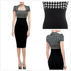 Womens lady Vintage Colorblock Party Wear To Work Bodycon Tunic Pencil Dress G