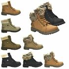 NEW WOMENS LADIES ARMY COMBAT FLAT GRIP SOLE FUR LINED WINTER ANKLE BOOTS SHOES