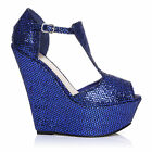 ENYA Blue Glitter Wedge Very High Heel Platform Peep Toes