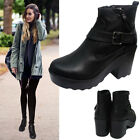 LADIES MID BLOCK HEEL WOMENS  ZIP CHUNKY PLATFORM CHELSEA ANKLE BOOTS SHOES SIZE