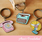 :) Designer=Chic=Typewriter Fan Telephone=Metal Key Chain Iron Ring Fob Keychain