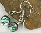 FREE P&P Abalone shell drop/dangle ear-rings 8 mm round/coin (+/-) + findings