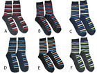 One Pair Mens Dress Socks Multi Color Stripe Trendy Modern Fit Casual statement