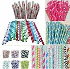 25 STRIPED  PAPER STRAWS DRINKING PARTY BIRTHDAY WEDDING POLKA HEART STRIPE UK