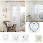 Hearts embroidered voile panels sold in PAIRS or matching heart filled cushions