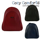 Faux Leather Backpack with Front Pocket - Red, Black, Navy, Brown