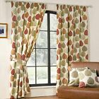 Inglewood Modern Pencil Pleat Leaf Print Curtains,Terracotta - 9 Sizes Available