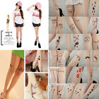 Women Fashion Tattoo Pattern Transparent Sheer Pantyhose Sexy Stockings Leggings