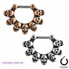1 PC C -  Linked Skulls 316L Surgical Steel Septum Retainer Clicker Ring