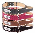 Dog Collar With Handle Large Extra Large Laser Engraved Tag Leather Black Brown