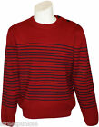 Relco Mens Mod Striped Naval Red Guernsey Knit Jumper Retro Anchor Buttons
