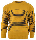 Relco Mens Mod Striped Naval Mustard Yellow Guernsey Knit Jumper Anchor Buttons