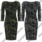 WOMENS LADIES 3/4 SLEEVE GLITTER LUREX DIAMOND PRINT LOW BACK BODYCON DRESS TOP