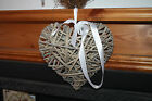 wicker heart BK2909 natural grey with white satin ribbon to hang