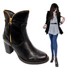 New Ladies Womens Fashion Faux Leather Block Heel  Ankle Boots Shoes UK Size 3-8