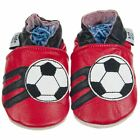 Boys Luxury Soft Sole Leather Baby Pram Shoes Football 0-6, 6-12, 12-18, 18-24