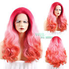 """20""""-28""""Long Curly Orangish Red Light Tips Lace Front Synthetic Wig Wigfashion"""