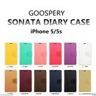 Genuine MERCURY Goospery Leather Flip Case Wallet Cover For iPhone 5/5s & SE