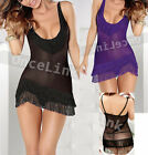 Sexy Chemise Gowns Babydoll LINGERIE Mini Dress Fringe Nightie + String SIZE S-M
