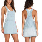 New Demin Cotton Raw Cut Hem Gertie Pinafore Overall Mini Causal Dress