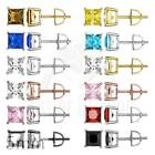 Mens Ladies Simulated Diamond Classy Princess Cut Solitaire Screw Back Earrings