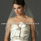 1 Layer Elbow -Fingertip Length Rhinestones Edge Bridal Veil with Comb Hot Sell